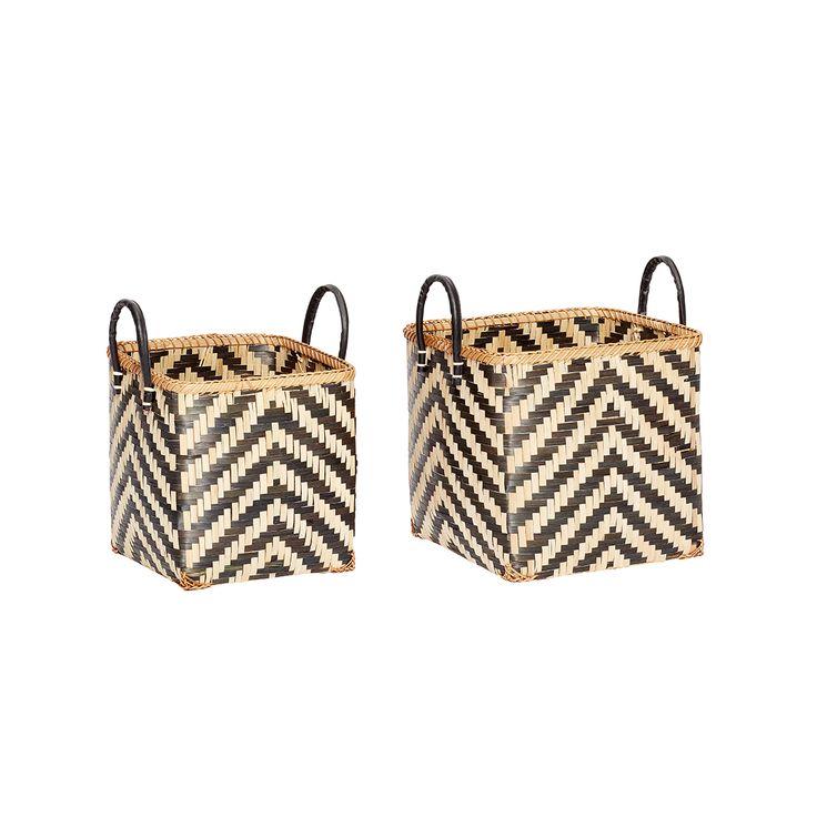 Korb-duo von Hübsch Interior aus Bambus.