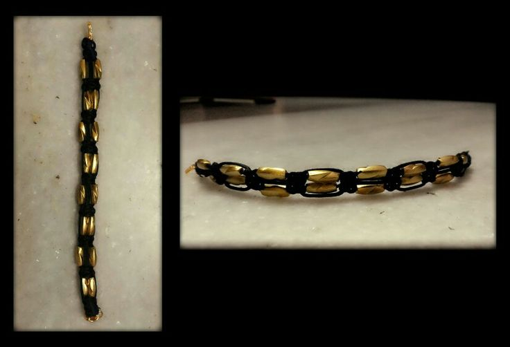 A first complete bracelet (hooks).  On the completion of this, I realised I could wear it myself.  The feeling of wearing your own handmade accesorry is bliss. Black and Gold definitely added more drama to the whole feel.