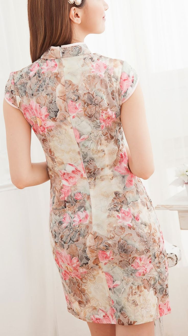 LUSH - Online Clothing Store. We Ship Worldwide!: Floral Cheong Sam with Sheer Bottom Embroidery