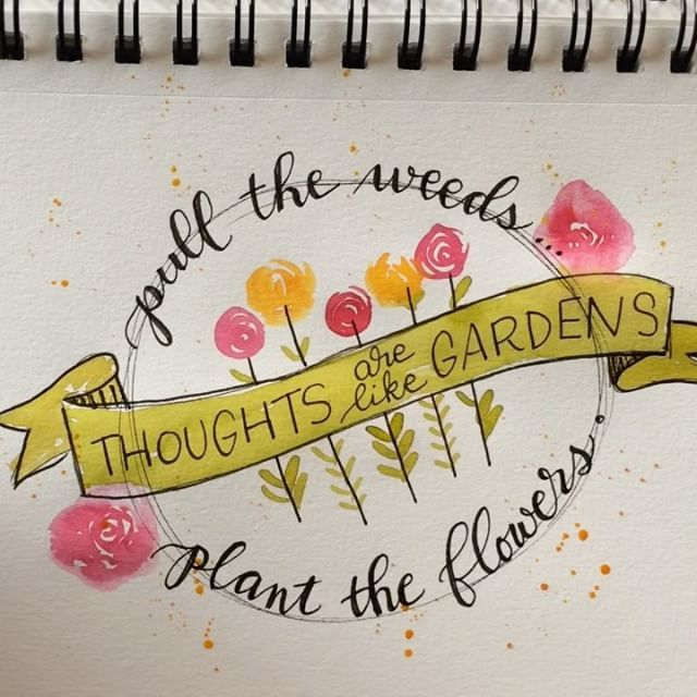 """: Could only spare a few minutes for a quick sketch today. … """"Thoughts are like gardens. Pull the weeds, plant the flowers."""" …"""