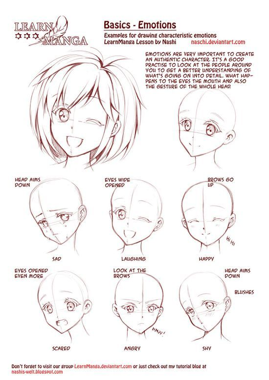 Learn Manga: Emotions by *Naschi on deviantART, how to draw manga face, girl face, cute kawaii drawing tutorial , how to manga draw eyes , expressions, manga, anime,