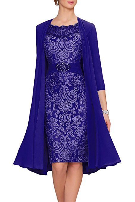 6d7aab43d49aae Newdeve Chiffon Mother Of The Bride Dresses Tea Length Two Pieces With  Jacket at Amazon Women's Clothing store: