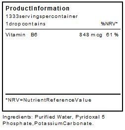 0,6 MG/KG /ENFANT = pour 20kg = 12mg/jour  soit moins de 1ml soit + de 100j de traitement Vitamin B6 bio assimilable (Pyridoxal-5-Phosphate) 100ml