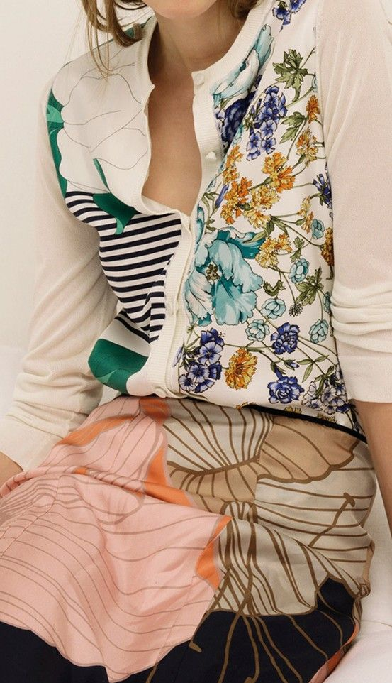 Mixed floral prints with graphic colour blocking and stripes - clashing patterned print fashion // Nina Ricci