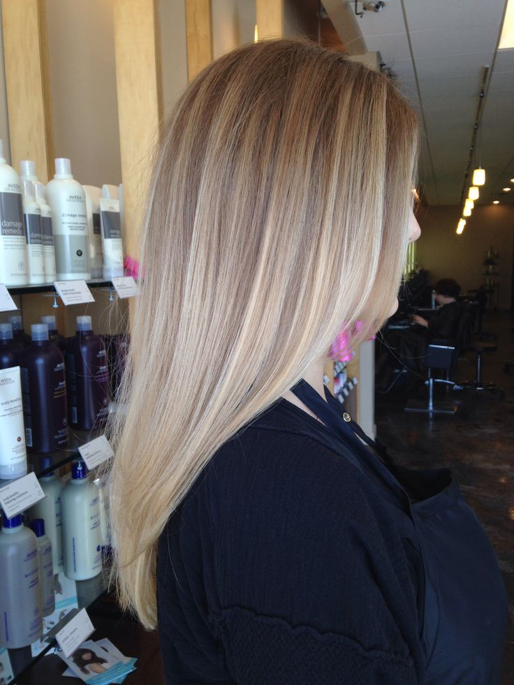 A cool toned, color melted ombré by Aveda Full Spectrum Permanent Hair Color.
