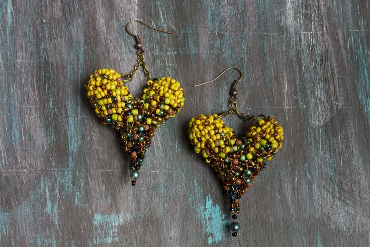 """Wire wrapped """"Mustard yellow Heart"""" Earrings by CreativeLida on Etsy https://www.etsy.com/listing/237929958/wire-wrapped-mustard-yellow-heart"""