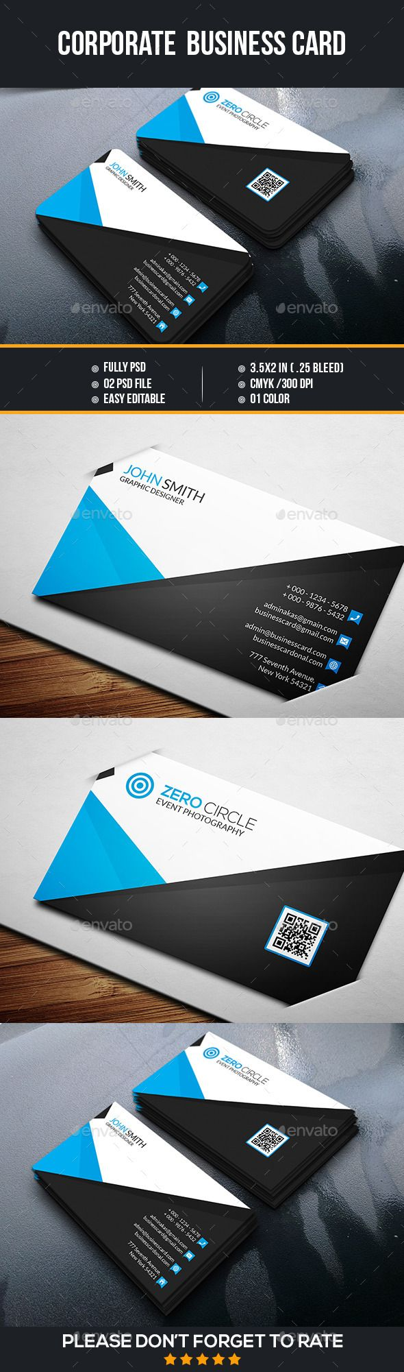 Corporate Business Card Template #design Download: http://graphicriver.net/item/corporate-business-card/12788724?ref=ksioks