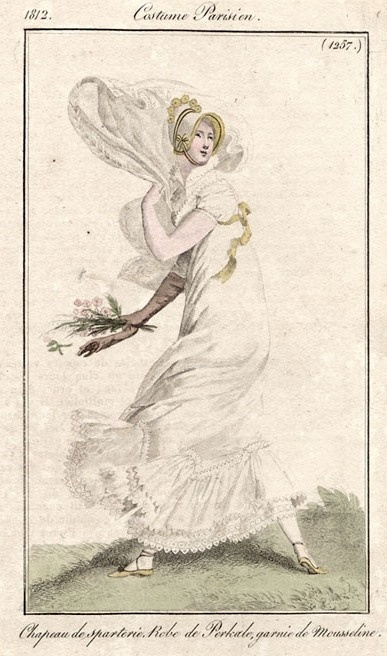 Out walking in the wind. Costume Parisien 1812.   Definitely an outfit for the White Muslin Crew!