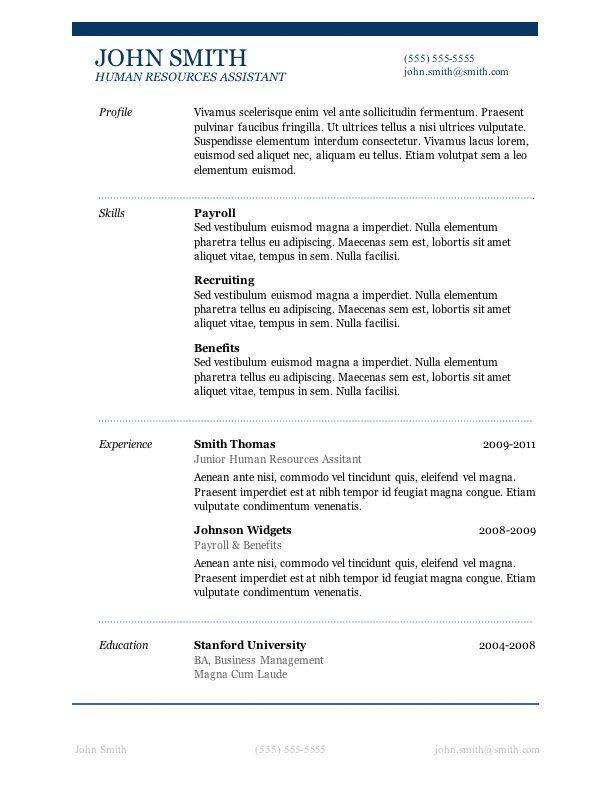 20 best Basic images on Pinterest Resume templates, Job resume - resume templates pages