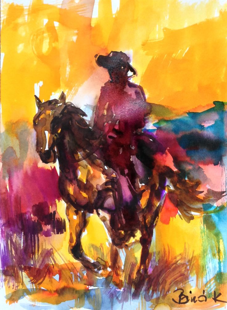 The cowboy watercolor art by Konrad Biro