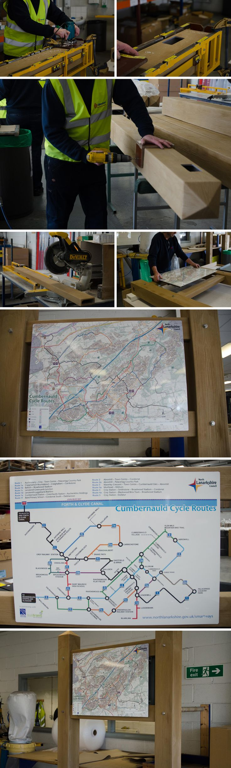 Assembly of our wood effect Glasdon Gateway with personalised signs for North Lanarkshire Council to show Cumbernauld cycle routes.  Glasdon Gateway is extremely versatile and can be specified to your exact requirements.