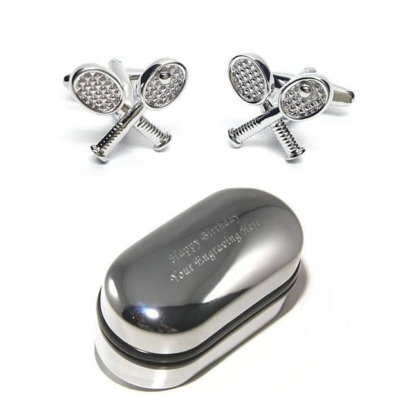 These Tennis Racket Cufflinks make the perfect gift for friends, family and loved ones. Our cufflinks are a great fashion accessory and complement any shirt and suit combination.  These stylish mens cufflinks also come with a luxury Engraved Chrome Gift Box which we can personalise