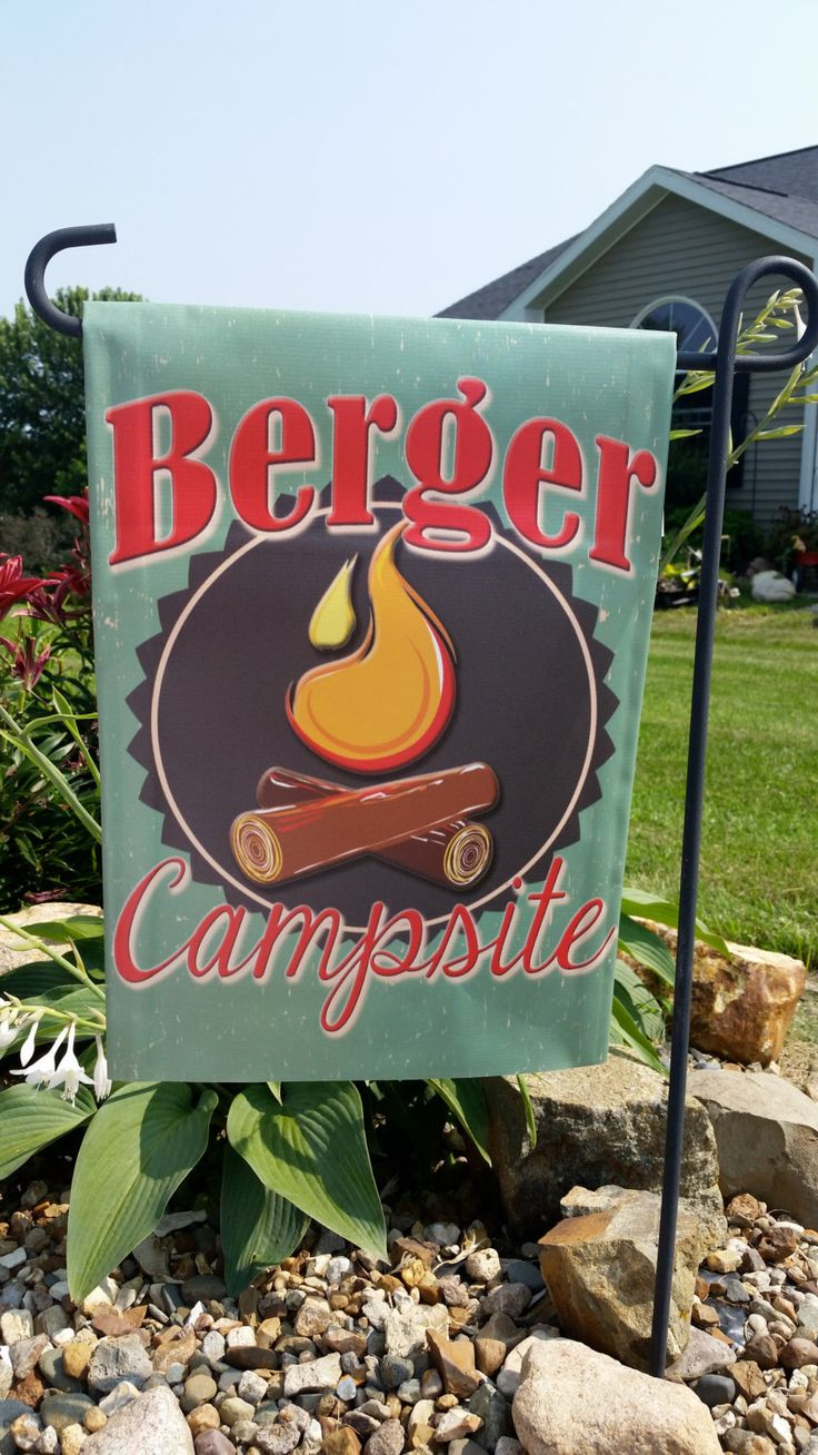 Garden Flag Campsite , Personalized Flags, Camping Flag, Vinyl Flag, Camp Fire, Happy Camper by Flagmania on Etsy https://www.etsy.com/listing/234850266/garden-flag-campsite-personalized-flags