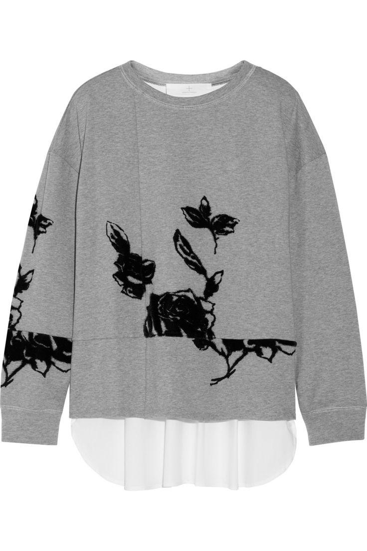 Thakoon AdditionLayered flocked cotton sweatshirt