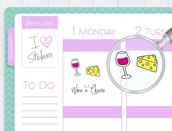 Wine and Cheese Stickers Planner Stickers Food Stickers