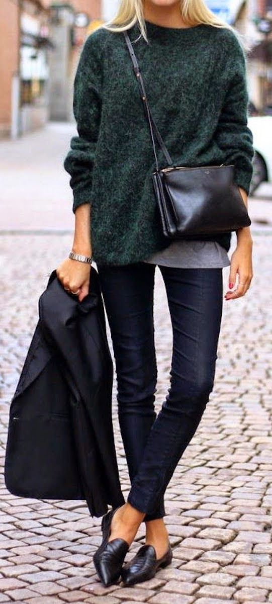 Casual Winter Outfits | Green warm sweater with navy skinny jeans and nude black shoes | Daily Fash For Fashion
