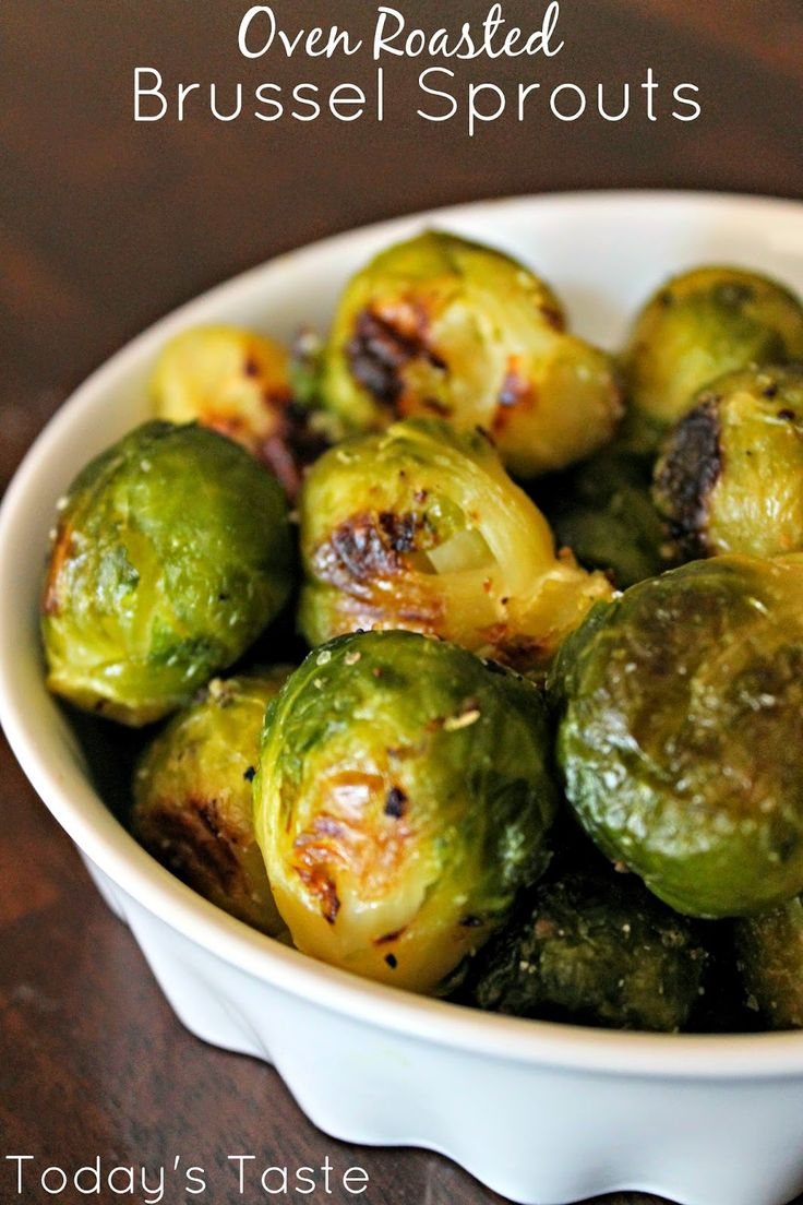 Ingredients: 1 (12 oz) bag of frozen of brussel sprouts (get the steamable bag) 1 Tablespoon of olive oil Garlic Salt to taste Directions: Preheat your oven to 400 degrees. Steam your brussel sprouts as directed on the package. After they are steamed, place them on a cookie sheet and drizzle the olive oil over them. Then sprinkle with garlic salt. Let them cook 10 minutes then turn them over with a spatula. Cook them for 10 more minutes. Add a little more garlic salt for flavor and serve.