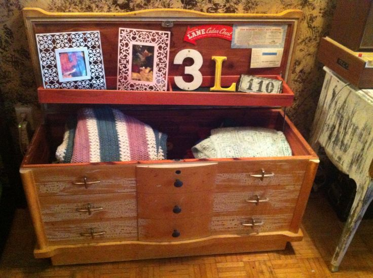 """Beautiful 1940""""s ceader chest I only added new knobs still have not decided if I should leave it as is"""