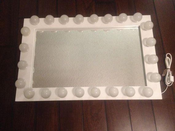 Lighted makeup vanity mirror called White Wedding. by WoodUBeMine