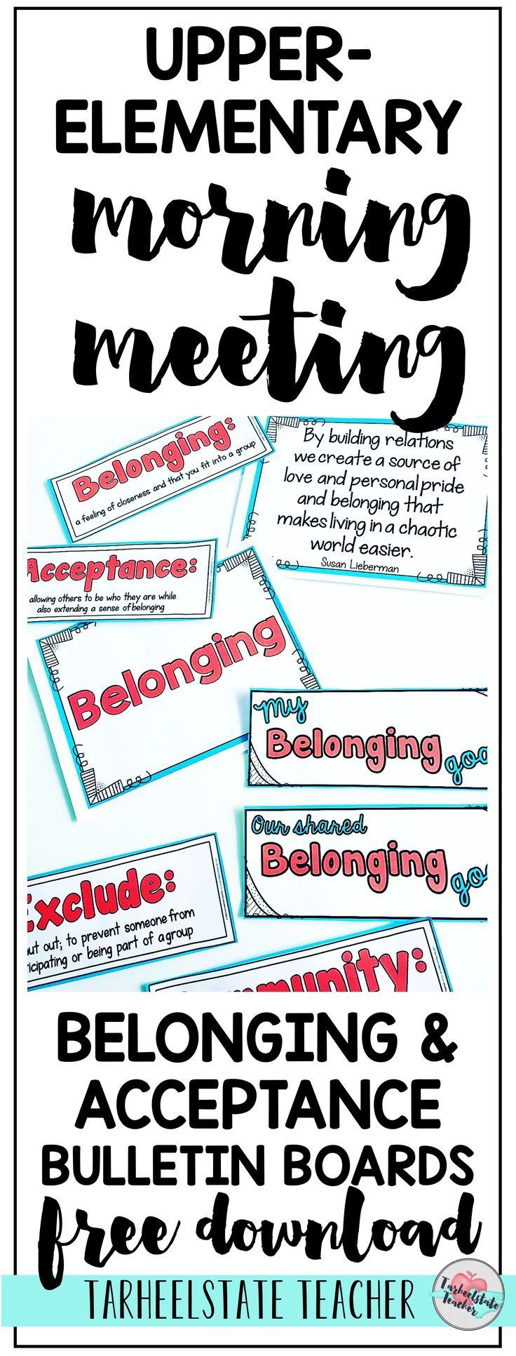 FREE CLASSROOM COMMUNITY BULLETIN BOARD SET for morning meeting   Belonging & Accepting Others Quotes and lesson ideas   Teaching kindness in the classroom through themes in literature, read alouds, and morning meeting; these Morning Meeting lesson ideas