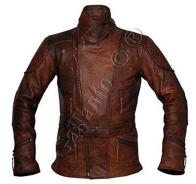 Eddie Mens 3/4 Motorcycle Biker Brown Distressed Vintage Leather Jacket