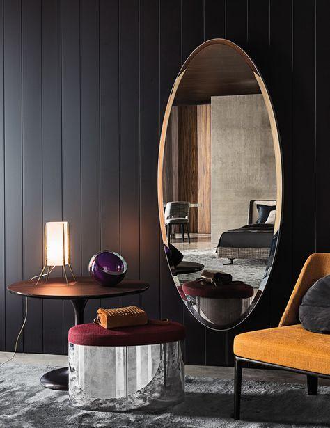 Oval dressing room mirror