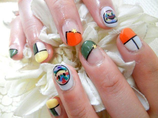 Красочный маникюр со смайлами ::: onelady.ru ::: #nail #nails #nailart #manicure