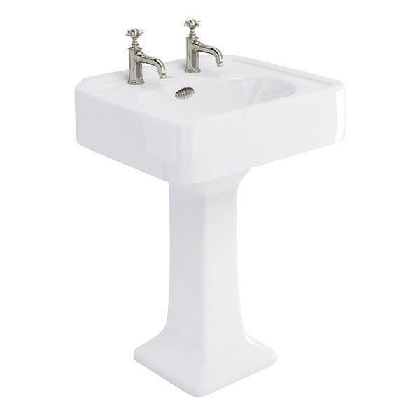 Arcade 600mm Basin With Overflow & Pedestal - Basins - Categories