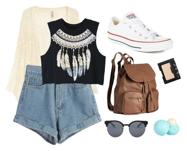 """go to the coachella"" by nastyanotnoisy on Polyvore featuring мода, WithChic, Converse, H&M, Quay, River Island и NARS Cosmetics"
