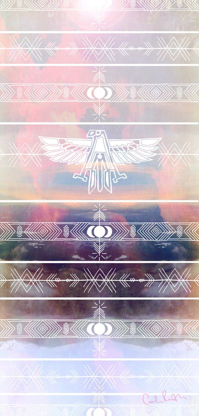 Thunderbird Illustrated Tribal Native American, Geometric Clouds and Landscape Photography Art Print