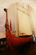 Viking replica ship 'Hjemkomst'--built on weekends and summer vacations by Robert Asp, guidance counselor at Moorhead Junior High School, MN, and successfully sailed to Oslo, Norway