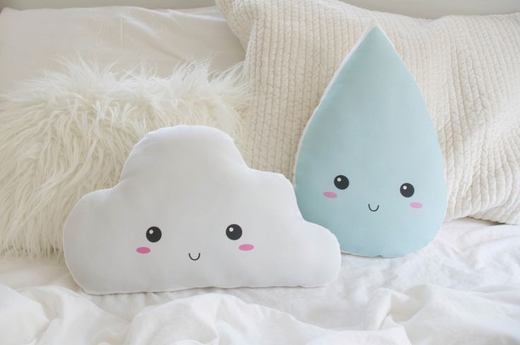 Cloud and Raindrop Pillow Cushion Set - Happy Cloud in Snow White & Rain Drop in Sky Blue - Cloud Nursery Pillow Set - Cloud Nursery Decor by DearVioletShop on Etsy https://www.etsy.com/listing/245831370/cloud-and-raindrop-pillow-cushion-set