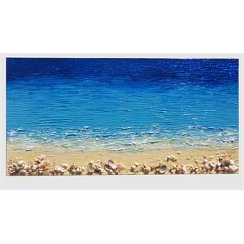 """ULTIMA CREAZIONE. """" Ricordi del mare 2 """" Acrilico spatolato in rilievo su tela. Applicazione di malte materiche, sabbie, graniglie e glitter. Decorazione con conchiglie vere di mare. Le conchiglie di mare, come elemento decorativo, sono spesso richieste nei quadri da inserire nelle case al mare... Semplicemente ispirati alla natura, con colori freschi e luminosi si possono adattare in diversi stili di arredamento."""