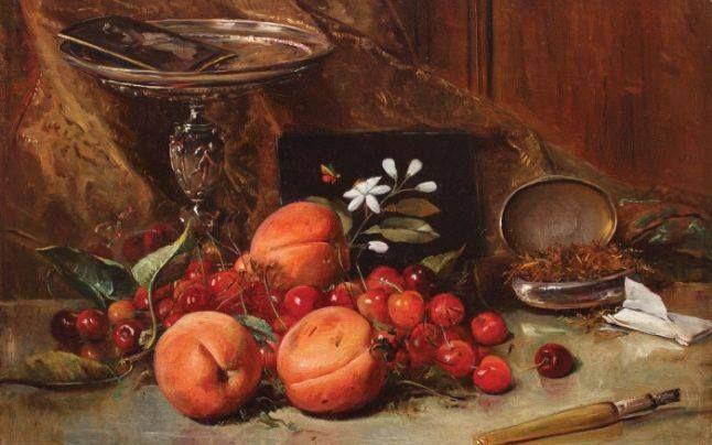 """Theodor Aman - """"Natură statică cu cireşe, caise şi tutun"""""""