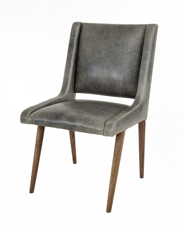 Mid century dining chair in distressed grey leather grey for Mid century modern leather chairs