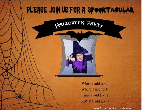 42 best halloween images on pinterest halloween cards custom free printable halloween invitations with your own text and photos stopboris Images