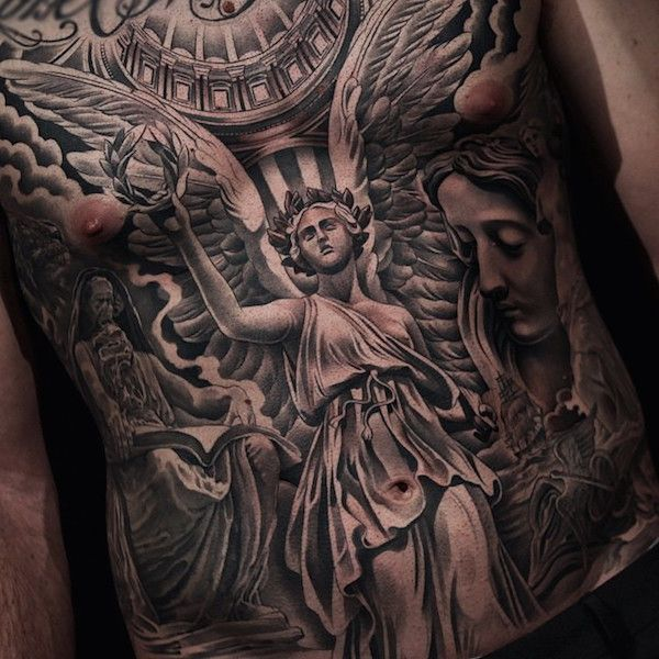 angel tattoo on stomach