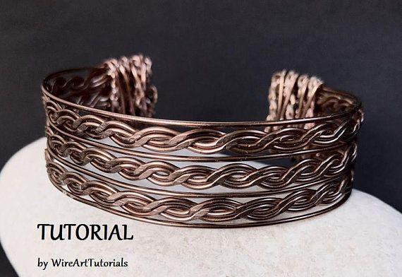 TUTORIAL PDF wire wrapped bracelet pattern book,wire wrap weave jewelry,copper,wrapping weaving,wrapped weaved,unisex women man beach jewel