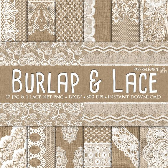 Burlap and Lace Digital Paper: Rustic Burlap Wedding Paper by PaperElement
