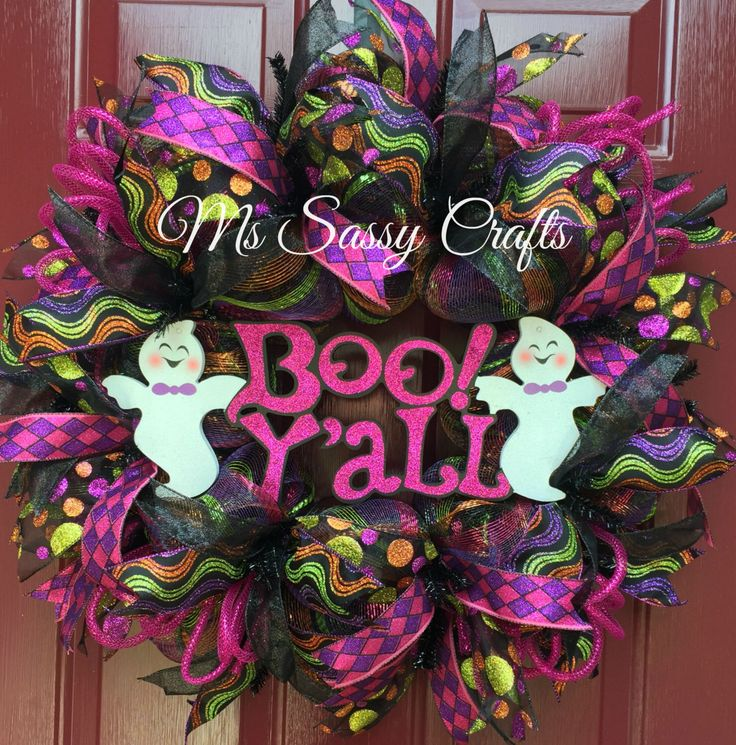 Halloween Wreath - Ghost Wreath - Boo Y'all Wreath - Halloween Deco Mesh Wreath…