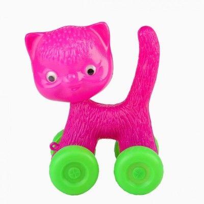 KITSCH KITCHEN Chat rose à roulettes vertes à tirer - My Little Bazar décoration pour chambre enfant