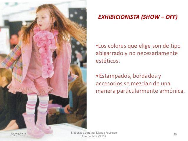EXHIBICIONISTA (SHOW – OFF)  •Los colores que elige son de tipo abigarrado y no necesariamente estéticos. •Estampados, bor...