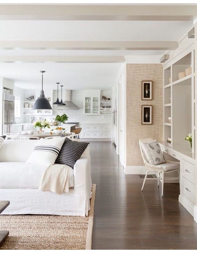 White Kitchen And Open Family Room. Built In Desk In This Soft And Feminine Living  Room Ideas.