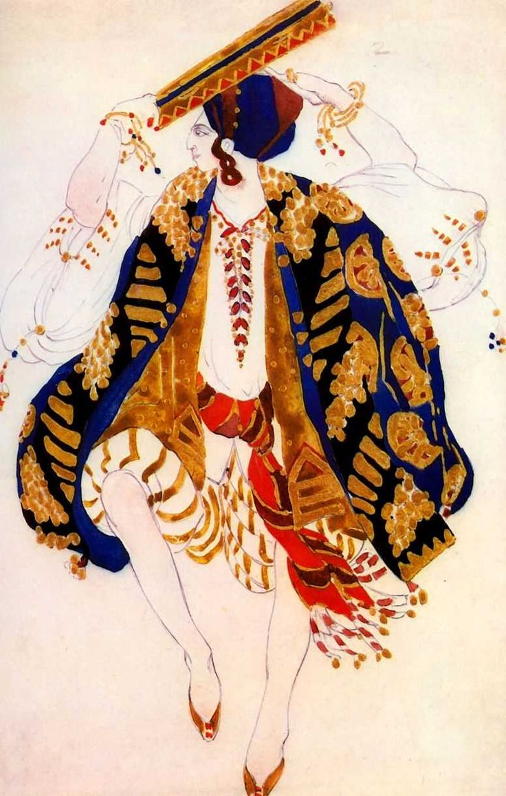 Cleopatra ballet by Bakst 01.jpg Эскиз костюма для еврейского танца с тамбурином к балету *Клеопатра*. 1910 г.
