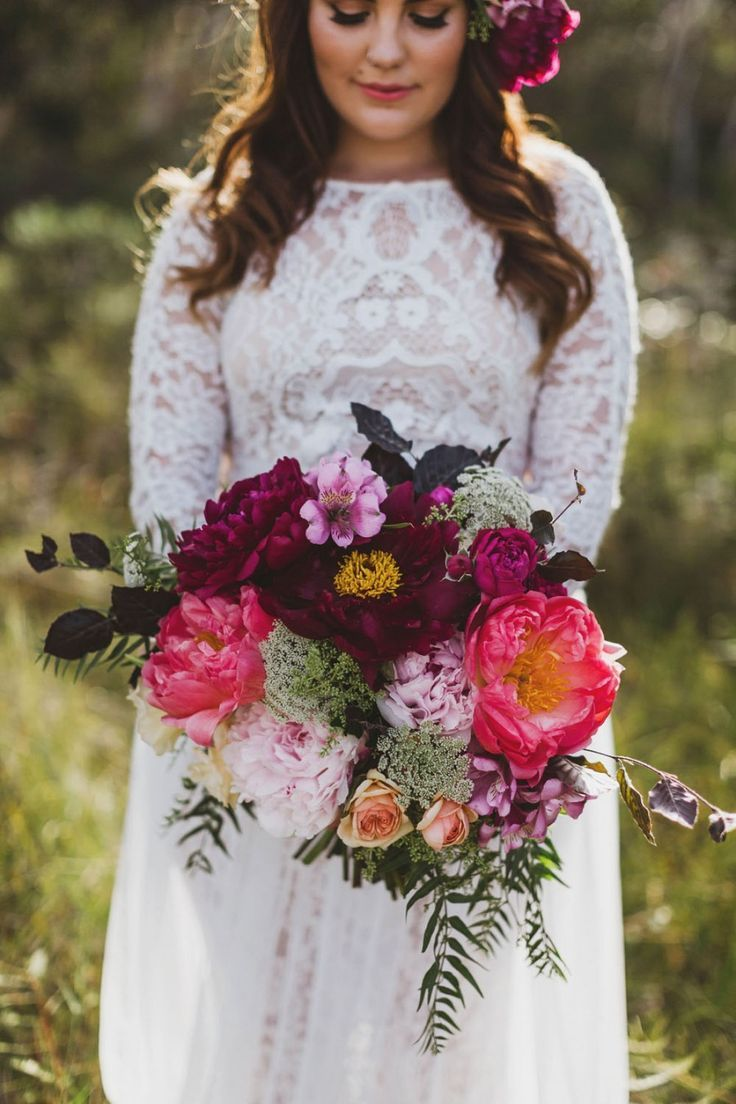 Hot-pink and burgundy bouquet