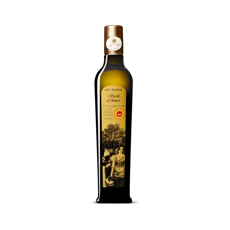 """$12.80 - EVOO """"Secoli D'Amore"""" - Extra virgin olive oil Aprutino Pescarese #POD 0,50L. A superb extra virgin olive oil made from olives of the """"Dritta"""" variety grown in #Abruzzo. The combination between a perfect processing method and passion for olive oil culture provide an exceptional extra virgin. Fruitage is medium, you can perceive the #flavor of field grass and artichoke. Its characteristics make it ideal for enriching fish dishes or roasts - olio di oliva extravergine #DOP italiano -"""