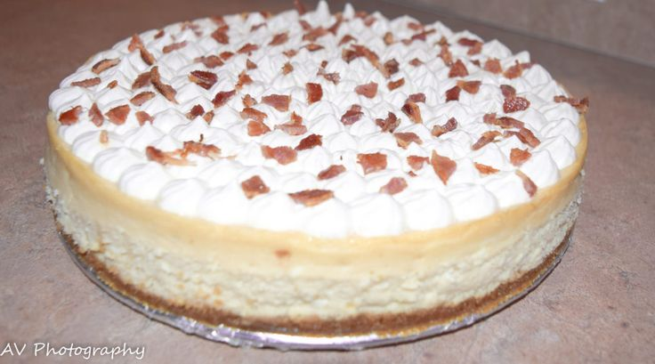 Maple cheesecake with maple whipped cream and bacon