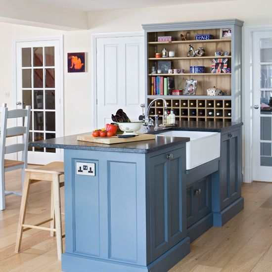 White kitchen with painted blue island unit | 20 ways with paint | Decorating ideas | PHOTO GALLERY | Housetohome.co.uk