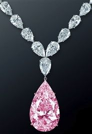 Graff 70-carat light-pink diamond drop on a white diamond necklace. Amazing! #jewelry #necklace