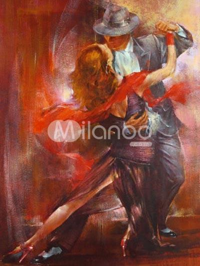 Beautiful Tango Dancers Canvas Oil Painting - Milanoo.com